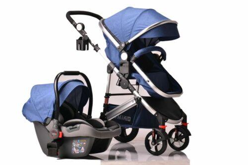 Kids Pram Travel System 3 in 1 Combi Stroller Buggy Baby Child Pushchair Blue