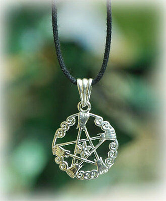 *** Hexenbesen-pentagramm-anhänger - Silber -*** Lange Lebensdauer