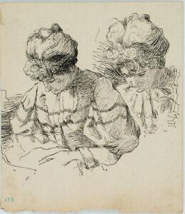 Leo Primavesi (*1871), Lesende Dame im Rüschenkleid, um 1895, Federzeichnung