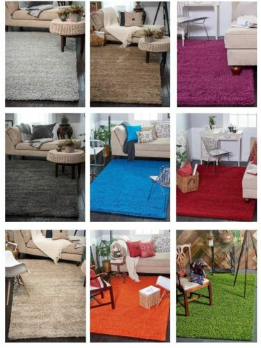 Shaggy Contemporary Area Rug Soft Thick Small Modern Plain Carpet Fluffy Large