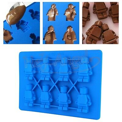 Safe Silicone Robot Minifigure DIY Ice Cube Cake Chocolate Maker Tray Mold Mould
