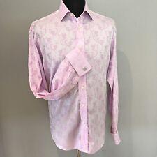 """Duchamp London floral double cuff dress shirt, pink, stunning, 16.5"""" collar"""