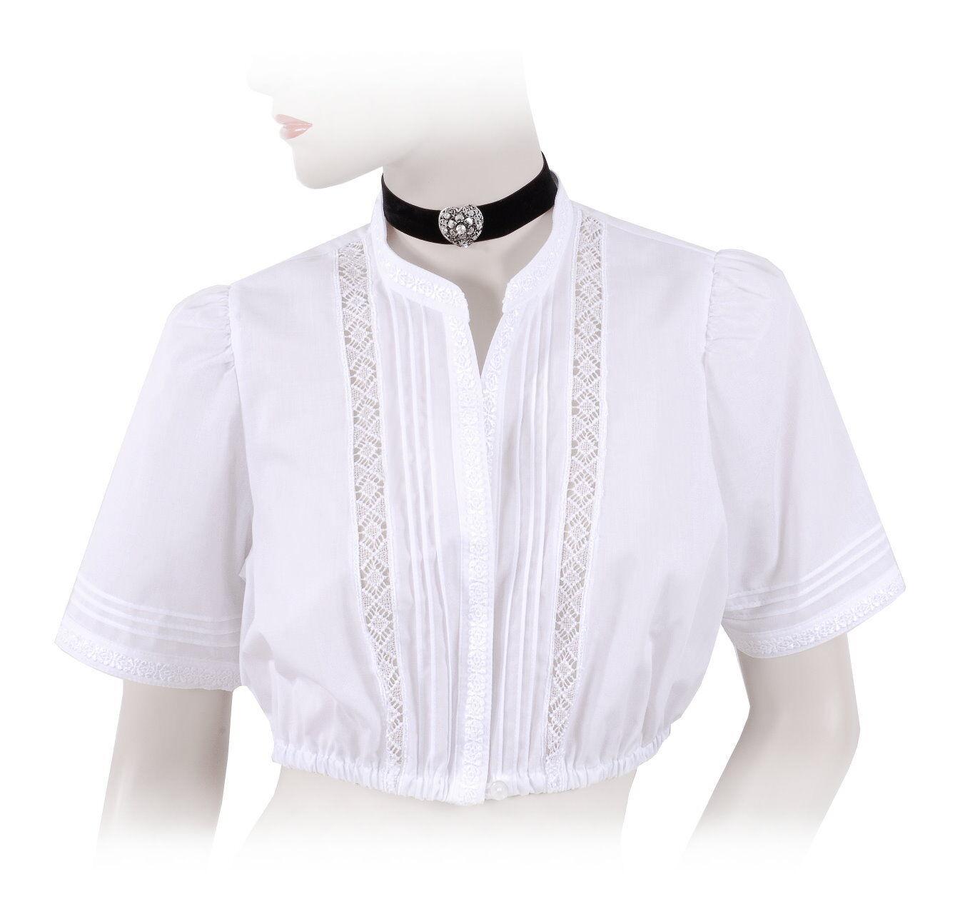 Top-Quality  DirndlBlause TrachtenBlause Damen mit Stehkragen - Weiß