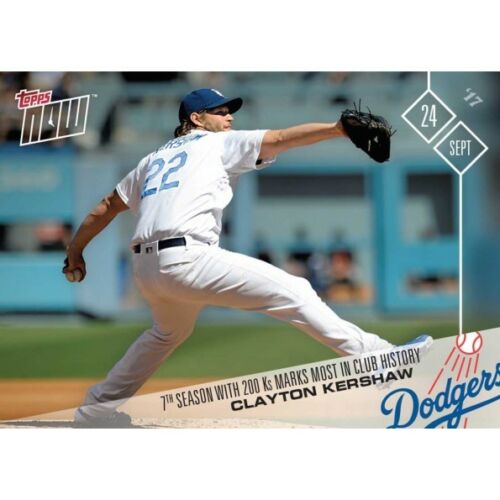 2017 Topps Now #652 7TH SEASON WITH 200 KS MARKS MOST IN CLUB CLAYTON KERSHAW