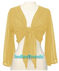 Yellow-Chiffon-Tie-Top-Belly-Dance-Flair-Wrap-Choli-Gypsy-Haut-Danse-Blouse