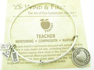 Wind-and-Fire-Teacher-Charm-Silver-Wire-Bangle-Stackable-Bracelet-USA-Gift