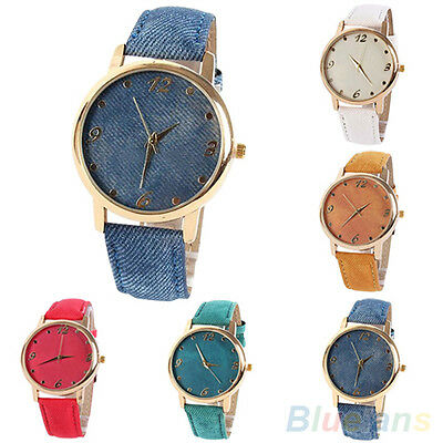 Fashion Jean Fabric Faux Leather Band Gold Plated Case Analog Quartz Wrist Watch