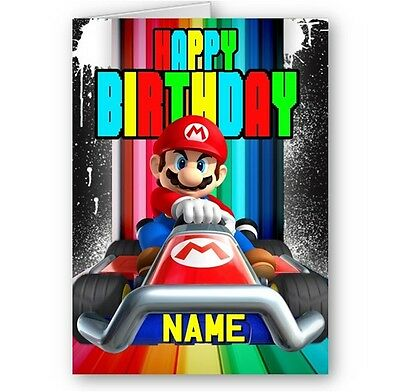 Super Mario Bros Happy Birthday A5 Card with Envelope Personalised Name