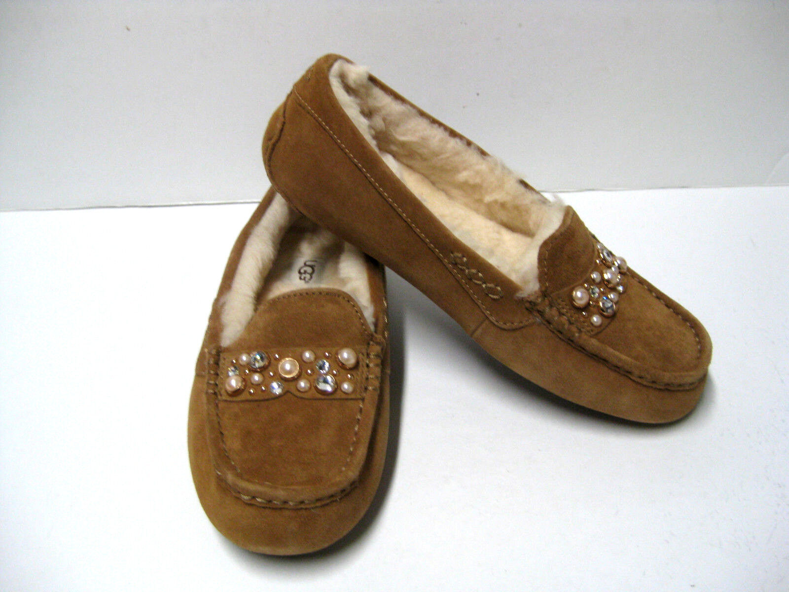 UGG ANSLEY BOW BRILLIANT NŐK SLIPPER SUEDE CHESTNUT US 9 / UK 7.5 / EU 40