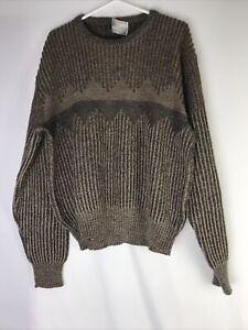 Vintage-90s-London-Fog-Herren-XL-braun-Pullover-Geometrische-COOGI-Style-Bill-Cosby