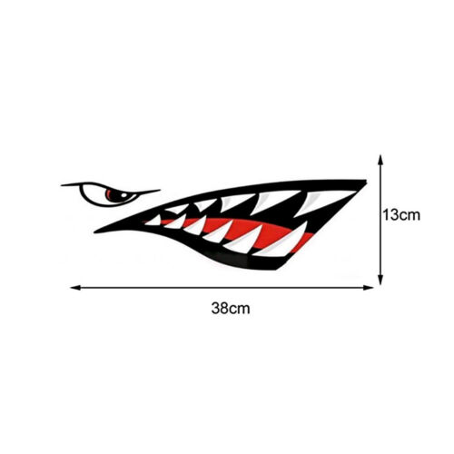 1 Pair Shark Teeth Mouth PET Decal Stickers For Kayak Canoe Dinghy Boat Newly