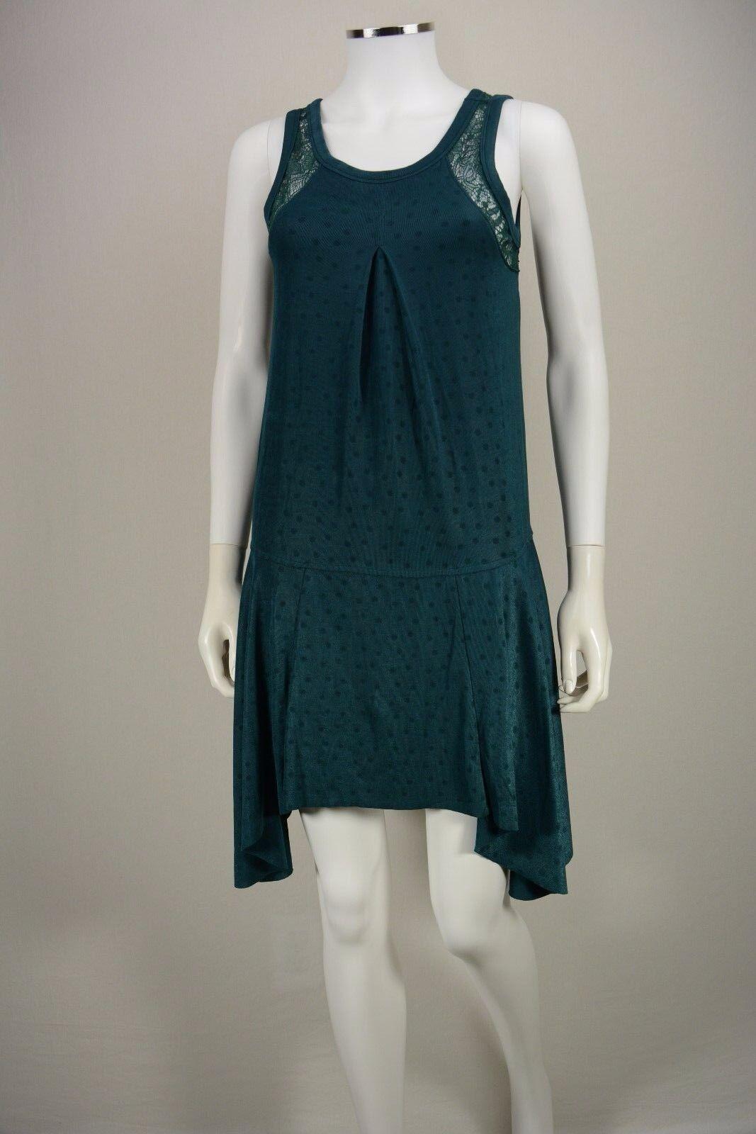 Women's Free People size XS Green Polka Dot High Low Sleeveless Flare Dress NEW