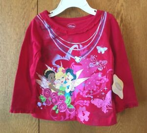 Infant-Girls-Disney-Fairies-Long-Sleeve-Tee-Size-18M-Red