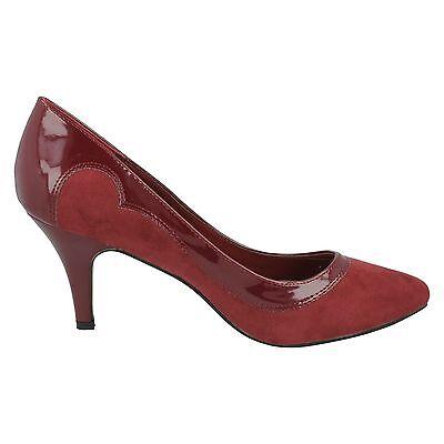 Spot On F9655 mujer Burdeos Microfibra Sin Cordones Zapatos de salón