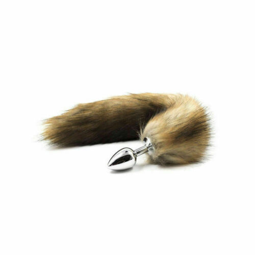 False Fox Tail With Metal Anal-Butt Plug Cosplay Romance Game Funny Toy Games