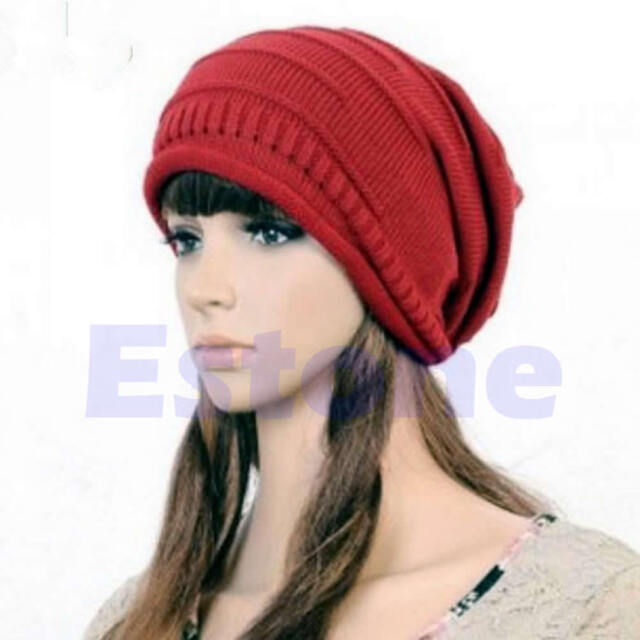 New Winter Beanie Ski Hat Unisex Plicate Baggy Knit Crochet Oversized Slouch Cap