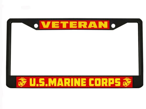US Marine Corps Marines Veteran Military License Plate Frame Holder CHROME//BLACK