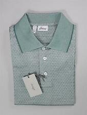$650 Brioni Slim Fit Polo Golf Shirt Green Geometric Pattern 100% Cotton M 50