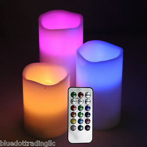 NEW in BOX ~ Titan Flameless LED Candles Remote 3 Piece Set - COLOR!!