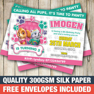 Invites with FREE Envelopes Personalised Paw Patrol Birthday Party Invitations