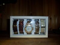 Womens Wristwatch And Band Set Brown Red Gold Multi Color Band Ladies Jewelry