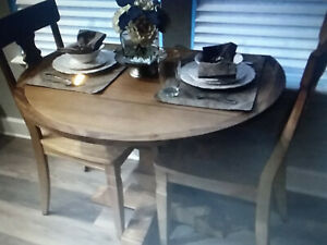 Perfect Round Drop Leaf Dining Table 42 Inch Natural Stone Wash Finish Ebay