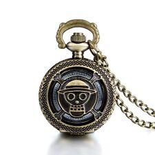 Steampunk Anime One Piece Skull & Crossbones Pocket Watch Pendant Halloween Gift