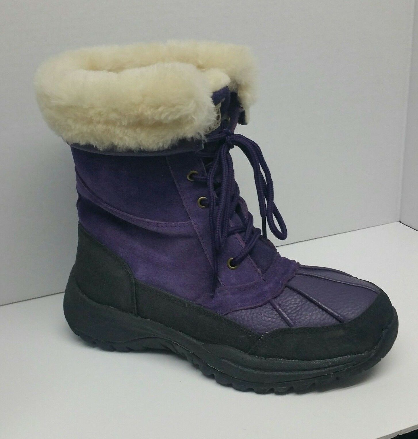 Bearpaw Purple Suede Leder Winter Boot Snowboots Damenschuhe Sz 7 Sheepskin Lace Up