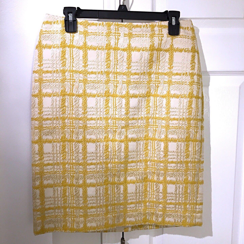 Talbots Yellow gold Cream Textured Plaid Cotton Blend Pencil Skirt Size 6