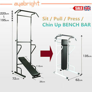 Fitness Power Tower Dip Station Sit Pull Press Chin Up