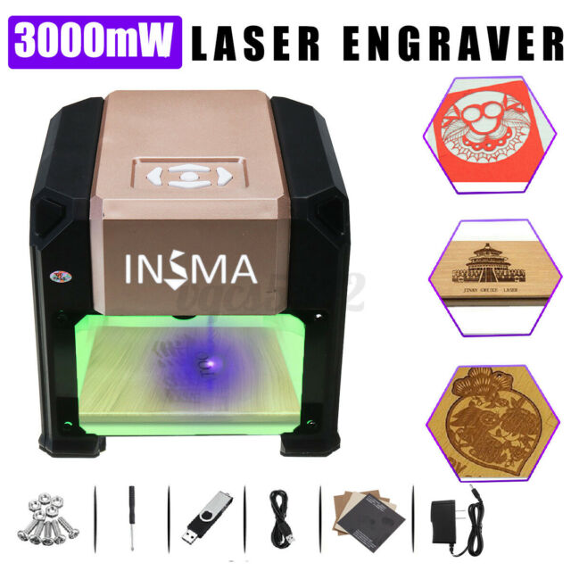 Real 3000MW USB Desktop Laser Engraving Machine CNC Logo Marking Cutting Printer