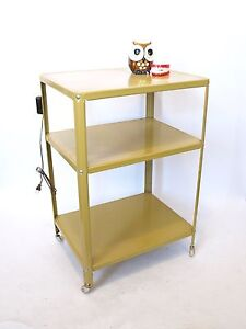 century mustard yellow rolling metal utility cart w outlet 3 shelves