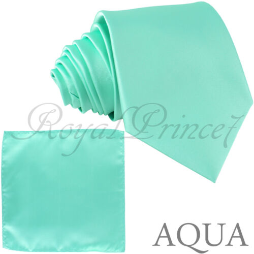 New Polyester Men/'s Neck Tie /& hankie solid formal wedding prom party teal
