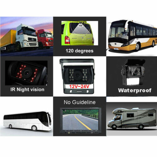 4 Pin CCD 12V-24V Bus Truck Trailer IR Night Vision Car Rear View Reverse Camera