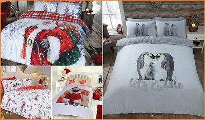 FATHER CHRISTMAS TREE SANTA CLAUS REINDEER PUGS PENGUIN QUILT DUVET COVER SET