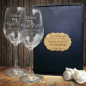 Etched Wine Glasses Wedding Gifts : Details about Engraved Wine Glass Set Gift Boxed Personalised Wedding ...