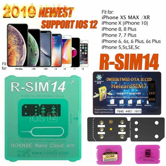 RSIM 14 V18 12+ R-SIM Nano Unlock Card for iPhone XS Max/XR/X/8/7/6 iOS  12 4 Lot