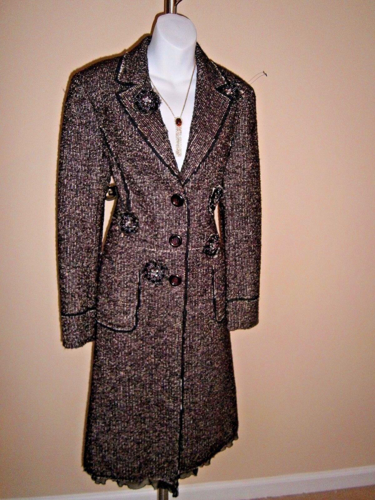 Lafayette 148 New York Brown Multi-color Alpaca Blend Tweed Embellished Coat Sz6