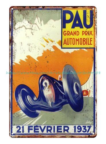 1937 Pau Grand Prix car race automobile auto shop garage tin sign metal sale art