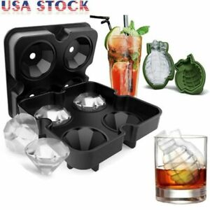 3D Diamond Grenade ICE Cube Tray Silicone Maker Round Ball Mold Whiskey Cocktail