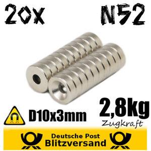 20x-Neodym-Magnet-D10x3mm-mit-Bohrung-2-8kg-Scheibe-magnetische-Wandbefestigung