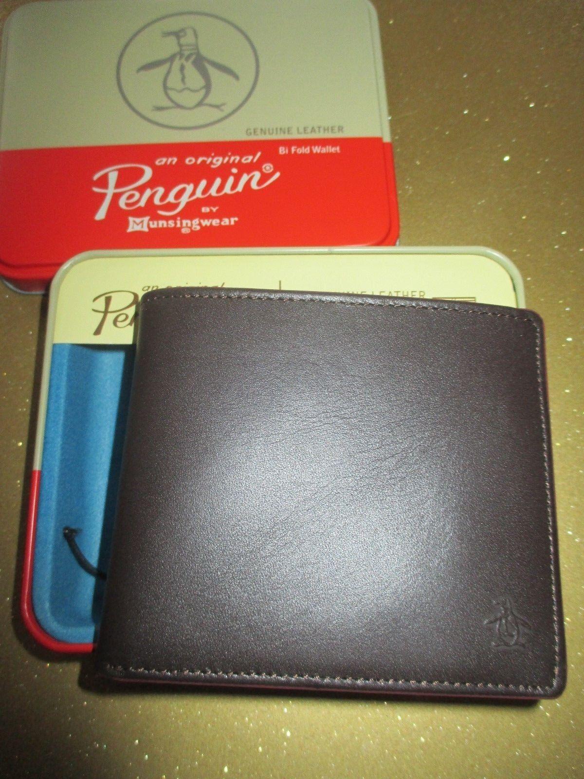 NEW Original Penguin by Munsingwear Wallet Men's ID RV Brown Frame Leather