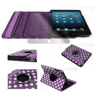 CASE-COVER-SCREEN-PROTECTOR-SWIVEL-STAND-PU-PURPLE-DOT-APPLE-IPAD-2-2ND-3RD-4TH