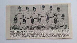 Amarillo AFB Amjets 1954 Baseball Team Picture