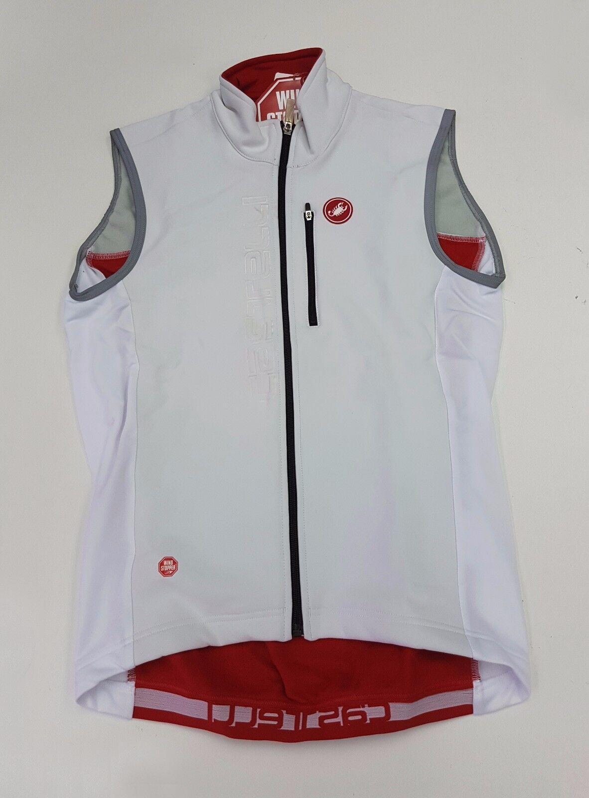 Castelli Invierno para Hombre Ciclismo Chaleco blancoo Rojo isterico Talla M