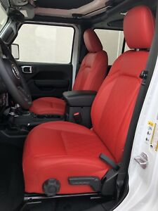 Details about 2018 19 JEEP WRANGLER JL RED DIAMOND PERFORATED LEATHER SEAT  COVERS SAHARA SPORT