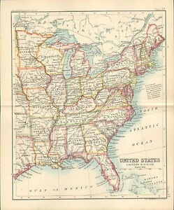 Small Map Of The United States.1890 Small Map Of United States Eastern Division By John