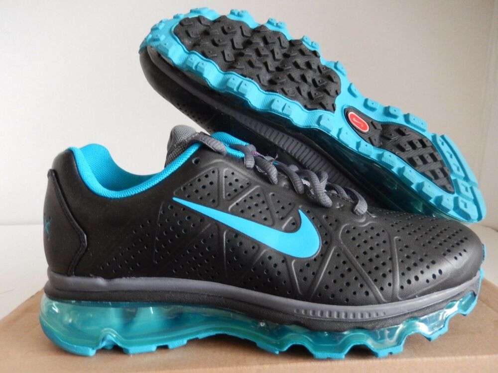 WMNS NIKE AIR MAX + 2011 LEA LEATHER noir-NEO TURQUOISE SZ 7 [456326-011]