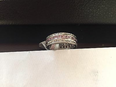 """SILVER R//P PINK//CLR CZ FULL ETERNITY BAND  RING SIZE /""""J/"""" STUNNING"""