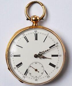 Symbol Der Marke Feine Taschenuhr Herren Schlüsseluhr 18 Karat 750 Gold Gelbgold Golduhr Um 1860 ZuverläSsige Leistung Taschenuhren